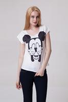 Drop Ship Women Roupas Femininas Woman t-shirts 2014 Summer Fashion Cartoon Mouse Plus Size Casual Print T shirt Loose Top