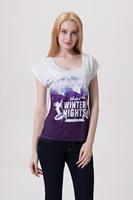 Drop Ship Women Roupas Femininas Woman t-shirts 2014 Summer Fashion WINTER NIGHT Plus Size Casual Printed T shirt Loose Top