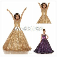 2014 Flower Girl New Gold Purple Organza Beaded Girls pageant Dresses Halter Ball Gown Shiny Sequins Flower Girl Dresses FD24