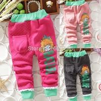 Girl Pattern Warmly Comfortable Pencil Pants Children's Baby Velvet Trousers(4Pcs/lot) Kid Tight Pants & Capris [iso-14-9-15-A6]