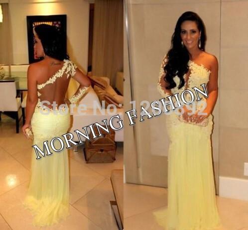 manhã moda vestido um ombro fotos reais ver através d060 rendas appliqued chiffon vestido sereia vestido de noite acessível(China (Mainland))