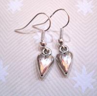 24pair *LITTLE HEART EARRINGS* Silver Plated Tibetan Small Gift Bag Xmas Valentine 30mm GH0102