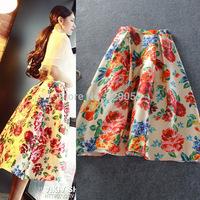 2014 Fall Women's new Skirts Flowers High waist midi Bubble Skirt  free shipping