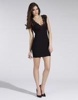 2014 Summer Women's Dress Bodycon Black Lace Dress Cute Style Sleeveless Deep V-Neck Mini Casual Dress Club Vestidos Casual Y004