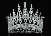 "Free Shipping Wholesale Sparkling Beauty Contest High Quality Pageant Tall 4.6"" Tiara Full Circle Round Crystal Crown CT1723"