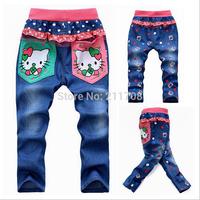 2014 fashion Girls' jeans blue Autumn children dot lovely jeans denim pants  cartoon print pants