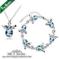 Free Shipping Girls Lovely Fashion Little Honeybee Necklace Bracelet Austrian Crystal Jewelry Set