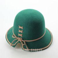 Cross Strap Bowknot Colorful 100% Wool Women's Fedoras Vintage women's fedora felt wool hat