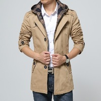 Spring and autumn men clothing casual overcoat men with a hood faux two piece men slim trench coat plus sizeM-4XL
