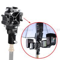 Metal Tri-Hot Shoe Mount Speedlite Bracket Holder-2 Umbrella Hole for Light Stand Camera Tripod Flash Umbrella Softbox Diffuser