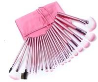Fashion Pink 22 pcs Professional Makeup Brushes Cosmetic Brush Kit Tool Nylon Make up Brushes with PU Leather Bag Free Shipping