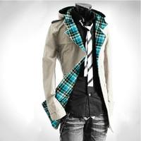 2014 winter UK style short trench coat mens casual windbreaker fashion jacket men's windcoat outwear