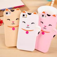 1pcs Free Shipping  Cute 3D Cartoon Cat Case Cover For Iphone5 5S Maneki Neko Case Cover Animal Case Gift 1pcs Stylus Pen