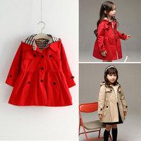 Girls Plaid Trench Coat Khaki Hood Windbreaker Girl Kids Red Jackets Coats for Girl Christmas Children's Winter Autumn Jacket