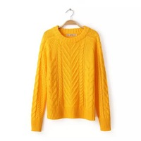 Girls leisure cotton blend yellow white color waving knits o-neck pullover sweater 251033
