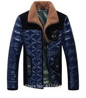 Free Shipping New Korean Stylish Men's Turn-Down Collar Hot Down Coats Casual Slim Parkas Jackets Outwear