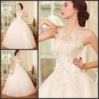 new princess wedding dress 2014 Korean Bra straps trailing wedding bride vestido de novia vestido de noiva a038