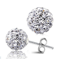 4 Sizes Selection!925 Sterling Silver Crystal Ball Shambhala Ear Studs Earrings Fashion Jewelry Gifr for Women ED03-12mm