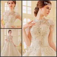 new princess wedding dress 2014 Korean Bra straps trailing wedding bride vestido de novia vestido de noiva a024
