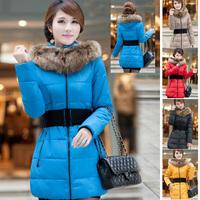2014 Slim Long Tunic Comfortable  Fur Collar Plus Size Warm Winter Coats For Women YFZ21