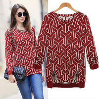 2014 New Fashion Autumn Women Loose Sweaters Regular Sleeve Hollow Out Knitted Outerwear Brand Desige Celebrity Womens Pullovers
