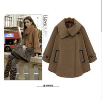 Free Shipping Pregnant women jacket Korean the irregular collar dark buckle leather pocket maternity woolen cape coat