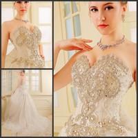 new princess wedding dress 2014 Korean Bra straps trailing wedding bride vestido de novia vestido de noiva a033