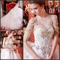 new princess wedding dress 2014 Korean Bra straps trailing wedding bride vestido de novia vestido de noiva a034