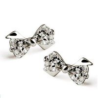 High Quality! 925 Sterling Silver Crystal Bowknot Bow-Tie Shape Ear Studs Earrings Fashion Jewelry Wholesale ED06