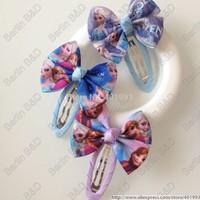 20pcs/lot 2'' FROZEN hair bow clips,Frozen hair accessories,Princess ELSA hair bow clips 9083