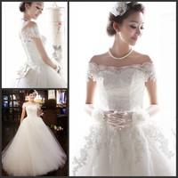 new princess wedding dress 2014 Korean Bra straps trailing wedding bride vestido de novia vestido de noiva a026