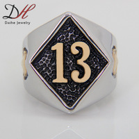 1PCS Best Selling Classic Fashion New Flame Lucky 13 Fire Ring Full Sizes Skull Stainless Steel Jewelry for Men 2014, RN2778