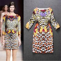 738 # 2014 autumn and winter new European runway leopard print knit dress