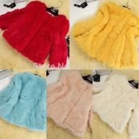 Newest! Korean Fashion Elegant luxury Women's Rabbit Fur Coat  Slim O-neck High Quality  Plus Size Coat Size:M-XXXL