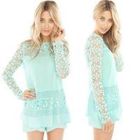 XFYS307 Crochet Flower Shirt  Retro Long Sleeve Women Blouse Blusas Femininas 2014 Ladies Fashion Blouses Shirt