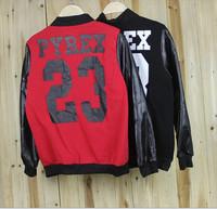 2014 New PYREX23 leather sleeves baseball jacket unisex clothes plus velvet jacket lover coat women men hoodie baseball uniform