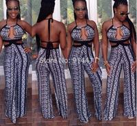 Brand Fashion Black Geometric Pattern High Waist Sleeveless Celeb Pants Women Lady Backless Bandage Strip Print Club Jumpsuits