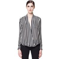 2014 New Fashion Women Stripe Chiffon Blouses Y-Neck Shirt Sleeve Asymmetrical Hem Loose Casual European Style Women D045