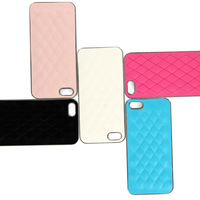 New Luxury Leather with Chrome Hard Back Case Cover For iPhone 5&5S#230341