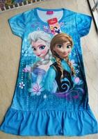 New 2014 summer girls dress/Cartoon Frozen Elsa&Anna dress/Casual summer princess girl dress