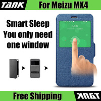 Tank original meizu mx4 phone EOT texture stand and flip leather case cover 5 colors skin pc hard glass winodw auto sleep
