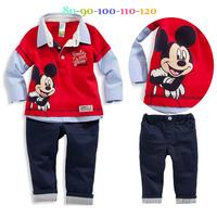 2014 spring autumn cartoon mickey baby boy cotton long-sleeved shirt+pants set/Fashion boys clothing set