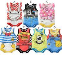 2014 Adorable Baby Boy/Girl Cartoon Minnie/Mickey romper/Summer unisex bodysuit/7 designs one-piece bodysuit