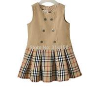 5pcs/lot Bilibaya Baby Girls Dress Spring/Autumn One-Piece Dress Children Sleeveless Plaid Dress Girl Clothes free shipping