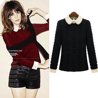 2014 Free Shipping Western Style New Autumn-Winter Turn-Down Collar Long Sleeve Thinck Loose Woman Pullover Knitted Sweater,