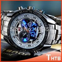 TVG 2014 Luxury Brand Sports Men Stainless steel Watches Quartz Military Digital Army Watch LED Waterproof Casual Wristwatch