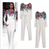 High quality New Chiffon Sexy Bodysuit White Floral Print  High Waist Long Sleeve lady overalls Jumpsuits office Ladies Casual