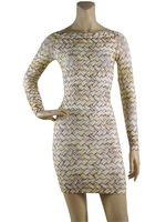 Free Shipping 2014 Women's Noble Sexy Weaving printing Long Sleeve Bandage Dress HL Fashion Cocktail Party Prom Dresses