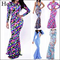 2014 Elegant Long Sleeve Flower Print Maxi Trumpet Mermaid Evening Dress Ruffle Printed Prom Party Dress Women Bodycon Vestidos