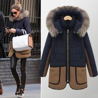 2014 New women winter jacket Large Fur Collar Multiple pockets contrast color Zipper thickening Hooded coat women winter coat